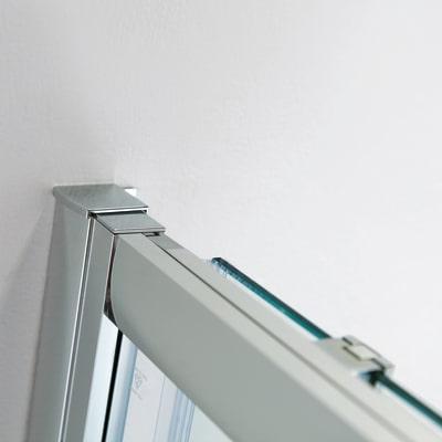 Box doccia scorrevole Slimline 75-80 x 95-100, H 195 cm cristallo 6 mm trasparente/silver