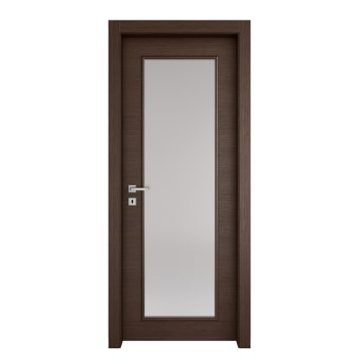 Porta da interno battente Timber vetro Fumo 60 x H 210 cm reversibile