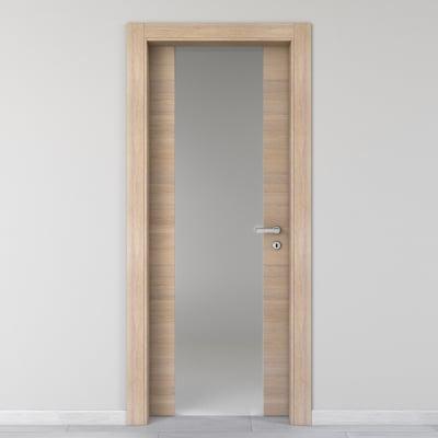 Porta da interno battente Ritz Vetro Rosa del deserto 60 x H 210 cm sx