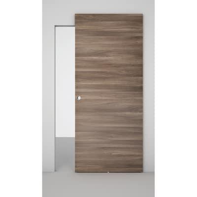 Porta da interno scorrevole Space binario nascosto cacao 101 x H 230 cm sx