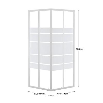 Box doccia scorrevole Nerea 67.5-79 x 67,5-79, H 185 cm cristallo 4 mm serigrafato/bianco lucido