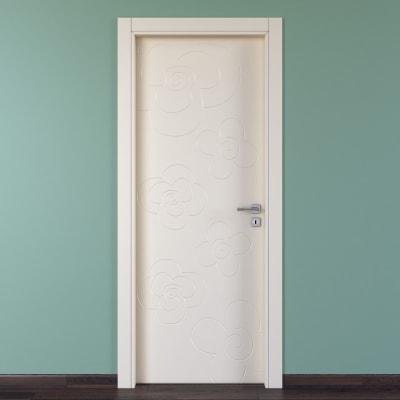 Porta da interno battente Flower ivory avorio 60 x H 210 cm sx