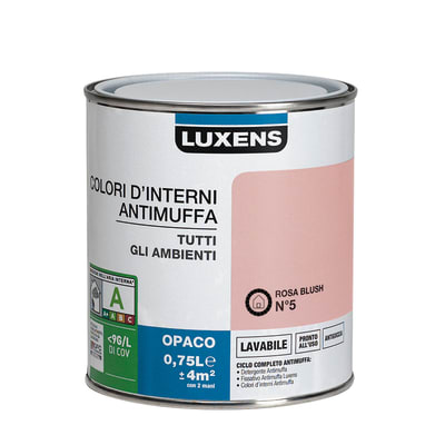 Idropittura lavabile Antimuffa Rosa Blush 5 - 0,75 L Luxens