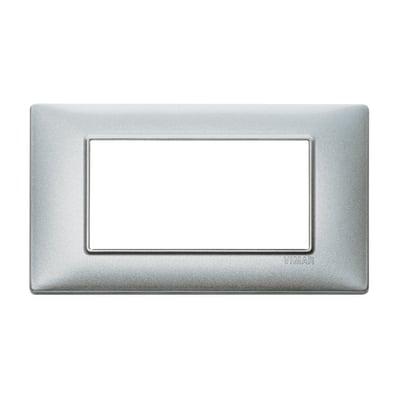 Placca 4 moduli Vimar Plana argento metallizzato