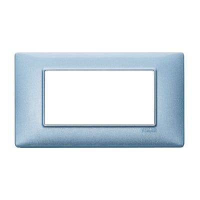 Placca 4 moduli Vimar Plana blu metallizzato