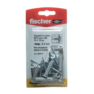 15 tasselli Fischer SX ø 6 x 30  mm con vite