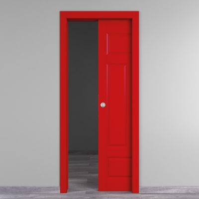 Porta da interno scorrevole Coconut Groove rosso 90 x H 210 cm reversibile