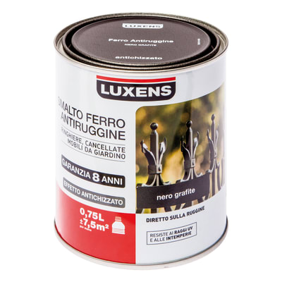 Smalto per ferro antiruggine Luxens Nero grafite antichizzato 0,75 L