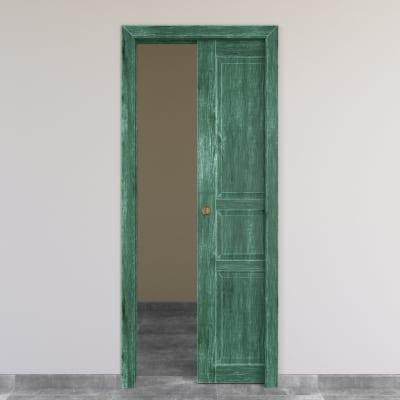 Porta da interno scorrevole Old Town verde sbiancato 60 x H 210 cm reversibile