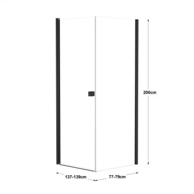 Doccia con porta battente e lato fisso Neo 97 - 99 x 77 - 79 cm, H 201,7 cm vetro temperato 6 mm trasparente/nero
