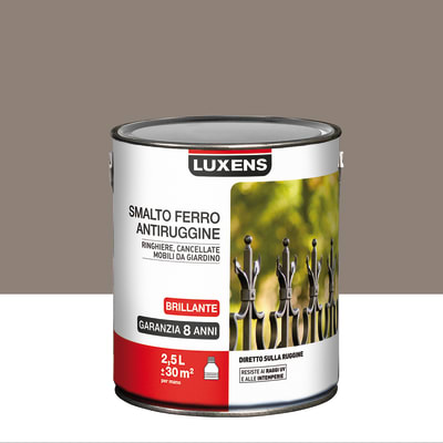 Smalto per ferro antiruggine Luxens marrone talpa brillante 2,5 L