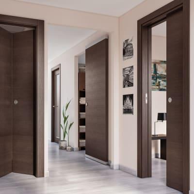Porta da interno pieghevole Timber Fumo 80 x H 210 cm sx