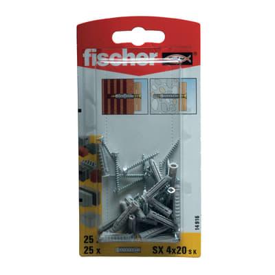 25 tasselli Fischer SX ø 4 x 20  mm con vite