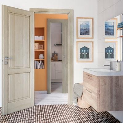 Porta da interno battente Vermeer rovere sbiancato 70 x H 210 cm sx