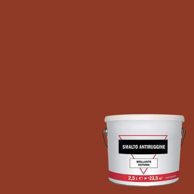 Smalto per ferro antiruggine marrone brillante 2,5 L