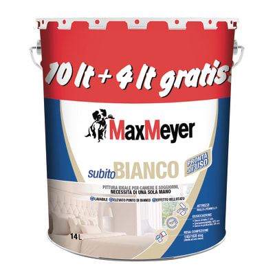 Idropittura lavabile bianca Max Meyer Subito Bianco 14 L