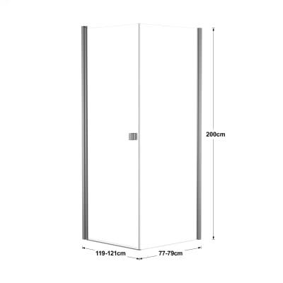 Doccia con porta battente e lato fisso Neo 79 - 81 x 77 - 79 cm, H 200 cm vetro temperato 6 mm trasparente/silver