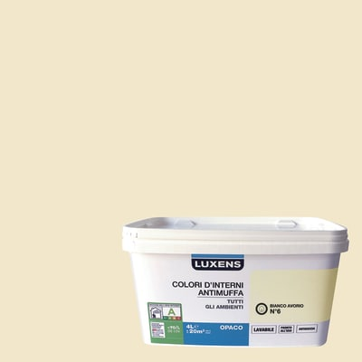 Idropittura lavabile Antimuffa Bianco Avorio 6 4 L Luxens