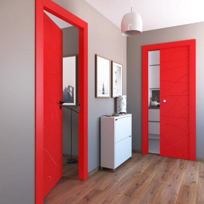 Porta da interno scorrevole Wind red rosso 80 x H 210 cm reversibile