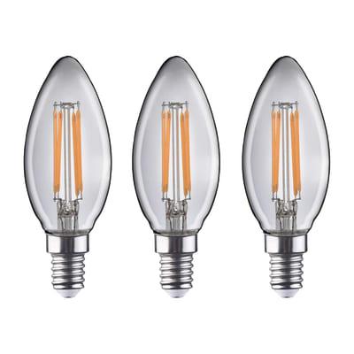 3 lampadine LED Lexman Filamento E14 =40W oliva luce calda 360°