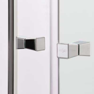 Doccia con porta scorrevole e lato fisso Dado 97 - 100 x 77.5 - 79 cm, H 185 cm cristallo 5 mm trasparente/silver