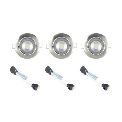 Kit 3 faretti ad incasso Clane nickel orientabile rotondo Ø 8 cm 3x50 W luce naturale