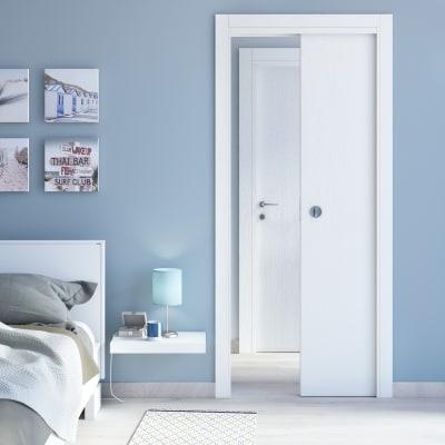 Porta da interno pieghevole Renoir bianco venato 80 x H 210 cm dx