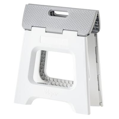 Sgabello a doppia salita in plastica 1 gradini Vigar grigio grande