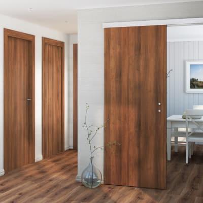 Porta da interno battente One walnut noce 90 x H 210 cm reversibile