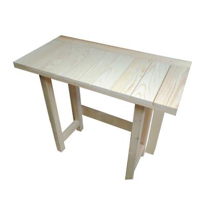 Tavolo pieghevole legno l 100 x p 50 x h 75 cm grezzo for Tavolo legno grezzo