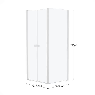 Doccia con porta saloon e lato fisso Neo 127 - 131 x 77 - 79 cm, H 200 cm vetro temperato 6 mm bianco opaco