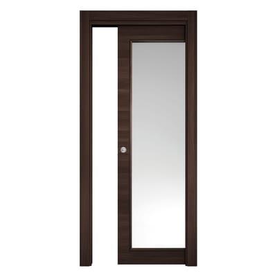 Porta da interno scorrevole Stenophylla vetro Cacao 80 x H 210 cm reversibile
