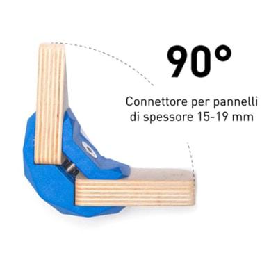 4 connettori Playwood 90° per pannelli in legno in plastica hi-tech blu