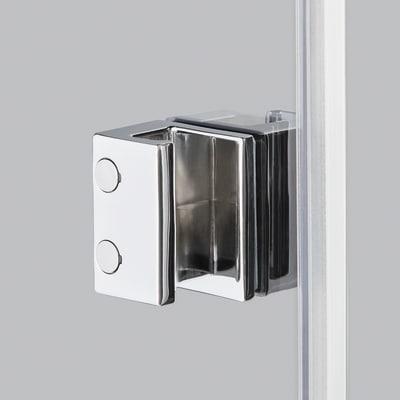Doccia con porta battente e lato fisso Neo 77 - 79 x 77 - 79 cm, H 200 cm vetro temperato 6 mm trasparente/silver