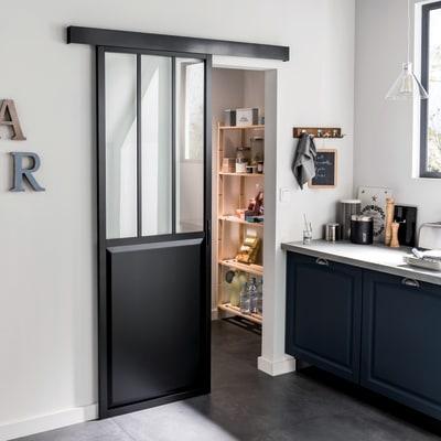 Porta da interno scorrevole Atelier Nero 86 x H 215 cm reversibile