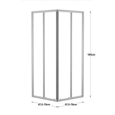 Box doccia scorrevole Nerea 77.5-79 x 77,5-79, H 185 cm cristallo 4 mm granito/silver