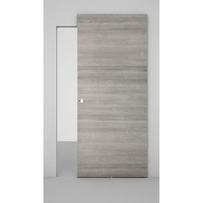 Porta da interno scorrevole Space binario nascosto grigio 101 x H 230 cm dx