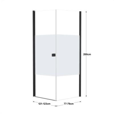 Doccia con porta battente e lato fisso Neo 81 - 83 x 77 - 79 cm, H 200 cm vetro temperato 6 mm serigrafato/nero