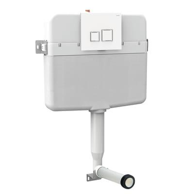 Cassetta WC da incasso Intraslim+placca square bianca doppio tasto