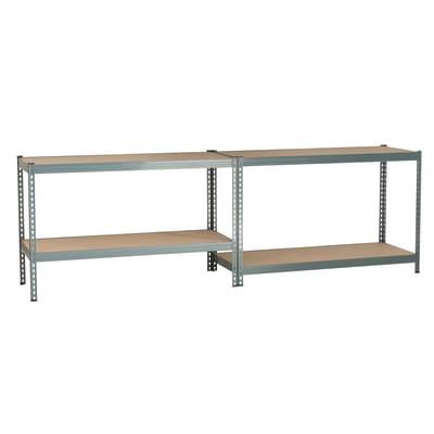Scaffale metallo grigio Spaceo 4 ripiani in legno L 150 x P 60 x H 190 cm