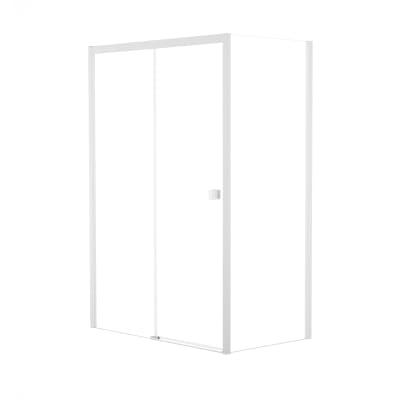 Doccia con porta scorrevole e lato fisso Neo 157 - 161 x 77 - 79 cm, H 200 cm vetro temperato 6 mm trasparente/bianco opaco