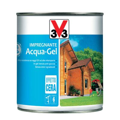 Impregnante ad acqua 6 anni V33 Acqua-Gel noce chiaro cerata 0,75 L