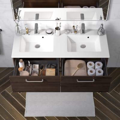 Mobile bagno Neo Line L 120 x P 48 x H 32 cm 2 cassetti rovere scuro