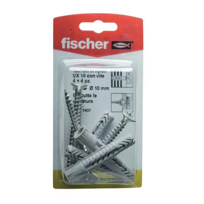 4 tasselli Fischer UX ø 10 x 60  mm con vite
