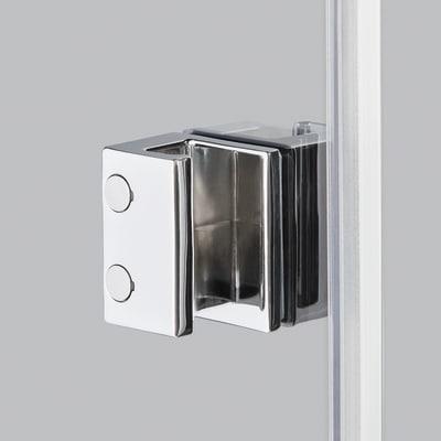 Doccia con porta saloon e lato fisso Neo 92 - 96 x 77 - 79 cm, H 200 cm vetro temperato 6 mm trasparente/nero