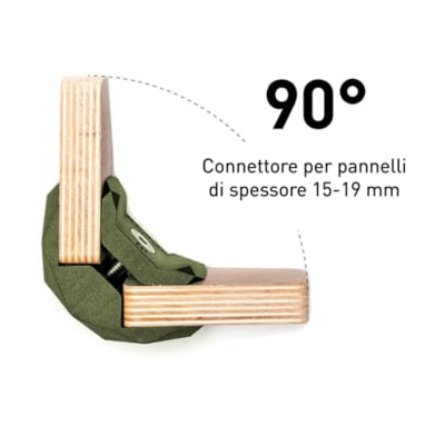 4 connettori Playwood 90° per pannelli in legno in plastica hi-tech verdone