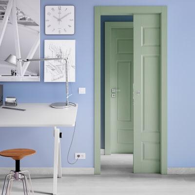 Porta da interno scorrevole Coconut Groove verde 70 x H 210 cm reversibile