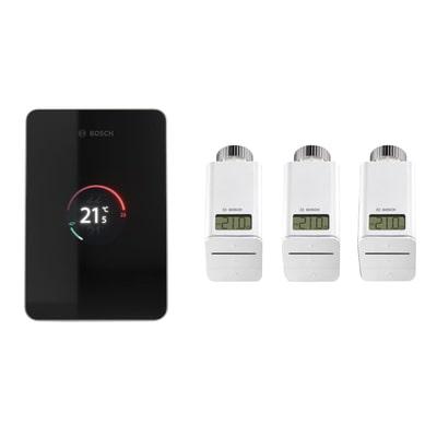 Termostato Bosch Set EasyControl CT 200 colore nero con 3 teste termostatiche intelligenti ETRV Wi-Fi
