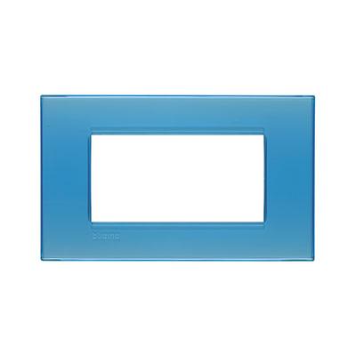 Placca 4 moduli BTicino Livinglight azzurro