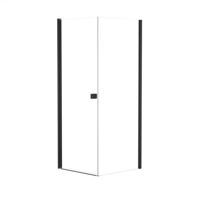 Doccia con porta battente e lato fisso Neo 79 - 81 x 77 - 79 cm, H 201,7 cm vetro temperato 6 mm trasparente/nero